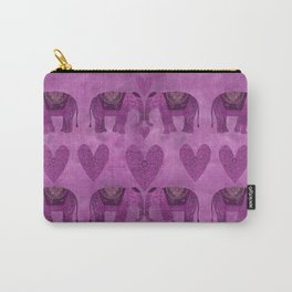 Elephants in Love pink heart artwork Carry-All Pouch