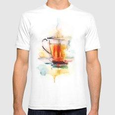 Black tea MEDIUM Mens Fitted Tee White