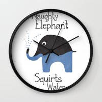 Naughty Elephant Squirts Water. Wall Clock