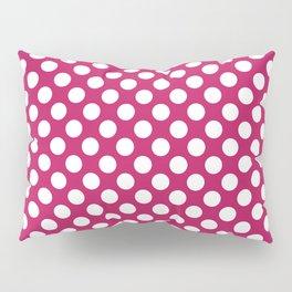 White and raspberry polka dots Pillow Sham