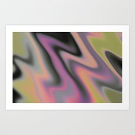Abstract Oil Spill (Black White Gray Pink Neon Yellow Purple) Psychedelic Wave Gradient Colorful Art Print