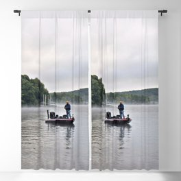 Misty Morning Fishing on the Lake Blackout Curtain