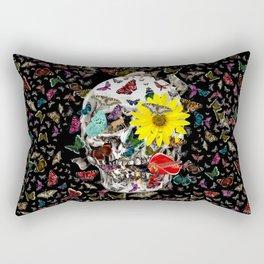 Skull Flowers Animals on Black | Butterflies Rectangular Pillow