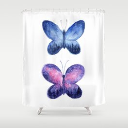 Blue and Pink Space Butterflies Shower Curtain