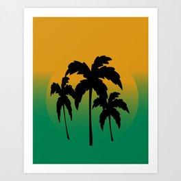 Hawaiian Palm Trees on Orange and Blue Background Art Print