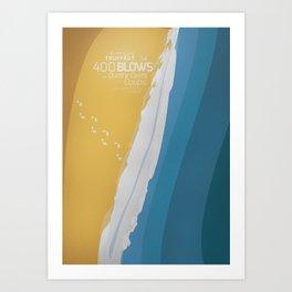 The 400 Blows, les Quatre cents coups, François Truffaut, minimalist movie poster, Jean-Pierre Léaud Art Print
