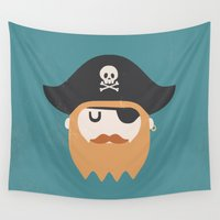 pirate Wall Tapestries featuring Pirate by Beardy Graphics