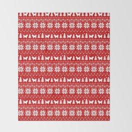 Shih Tzu Silhouettes Christmas Sweater Pattern Throw Blanket