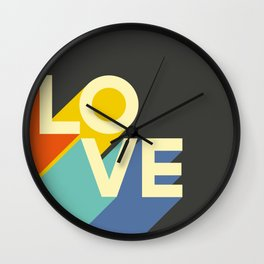 Retro 70s LOVE Typography Print Wall Clock