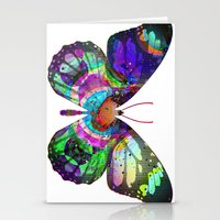 lsd Stationery Cards featuring LSD butterfly by Pink Eyed Paranoia