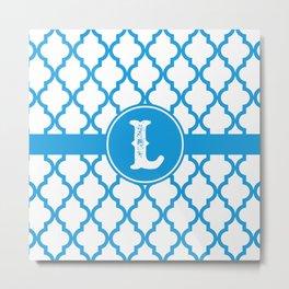 Blue Monogram: Letter L Metal Print
