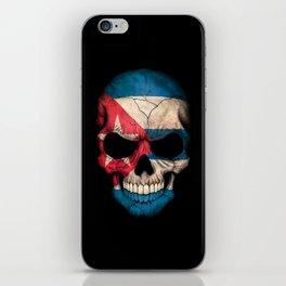 Dark Skull with Flag of Cuba iPhone Skin