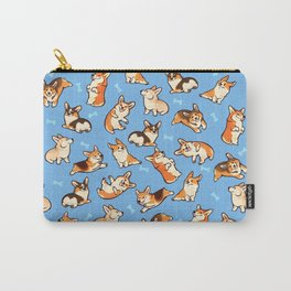 Jolly corgis in blue Carry-All Pouch