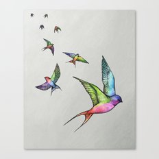 Swallows in Flight Canvas Print