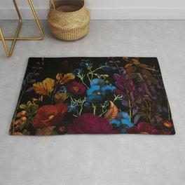 Dark autumn flower garden design floral pattern design Rug