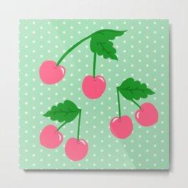 Cherry Kitsch on Mint Metal Print