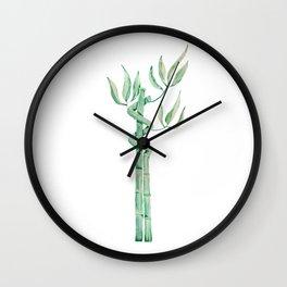 Green bamboo watercolor Wall Clock
