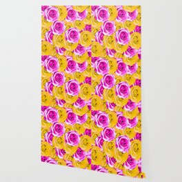 pink rose and yellow rose pattern abstract background Wallpaper