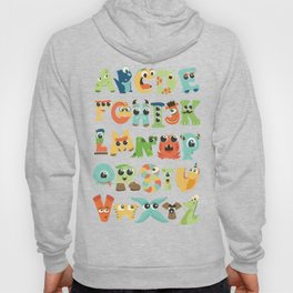Cute monsters alphabet for boy's room monster alien critters illustrated characters Hoody