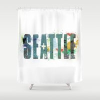seattle Shower Curtains featuring Seattle by Tonya Doughty