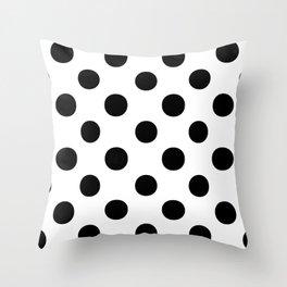 Polka Dots (Black/White) Throw Pillow