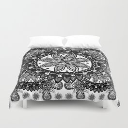 Black and White Chaotic Mandala Pattern Duvet Cover