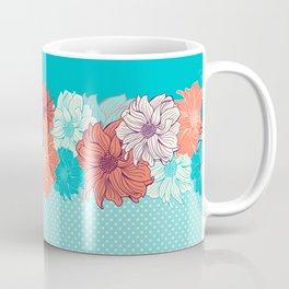 Dahlia floral border in turquoise Coffee Mug