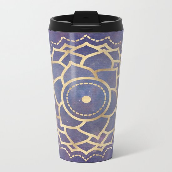 Mandala Chakra Copper and Purple Crown Chakra Metal Travel Mug