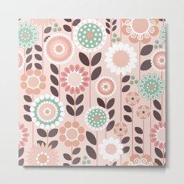 Pink, Folksy Floral Metal Print