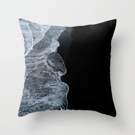 Waves on a black sand beach in iceland - minimalist Landscape Photography Throw Pillow