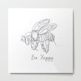 Bee Happy Sketch Metal Print