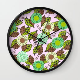 Atypical leaves and flowers Wall Clock