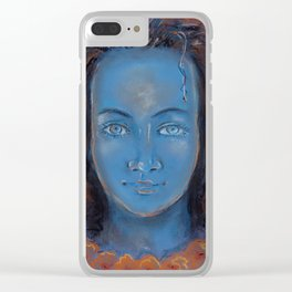 Avatar with blue skin and curly hair Clear iPhone Case