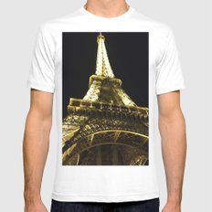 Tour Eiffel By Night SMALL Mens Fitted Tee White