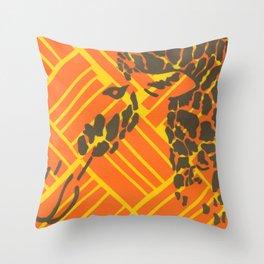 Screenprinted Giraffe Throw Pillow