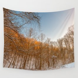 Golden Winter Forest Wall Tapestry
