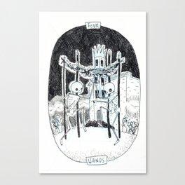 Four of Wands Skeleton Tarot Canvas Print
