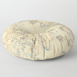 Map of the Arctic and Adjacent Regions (1855) Floor Pillow