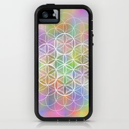 THE FLOWER OF LIFE - ON MOTTLED BACKGROUND iPhone Case