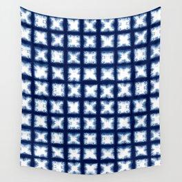 Indigo Shibori Granny Squares Wall Tapestry