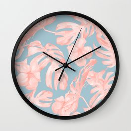Island Life Millennial Pink on Pale Teal Blue Wall Clock