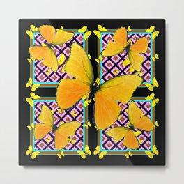 Golden Yellow Butterflies Pattern On Black Metal Print