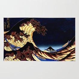 The GREAT Wave Midnight Blue Brown Rug