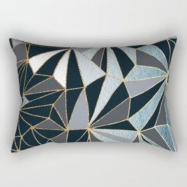 Stylish Art Deco Geometric Pattern - Black, blue, Gold #abstract #pattern Rectangular Pillow