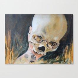 me holding my skull Canvas Print