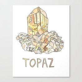 Topaz Gemstone / November Birthstone Watercolor Painting / Illustration Canvas Print