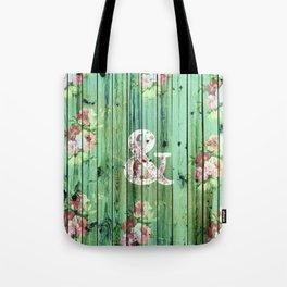 Vintage Floral Ampersand Turquoise Beach Wood Tote Bag