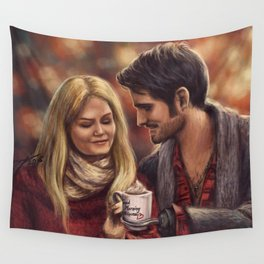 Hot Chocolate In Autumn Wall Tapestry