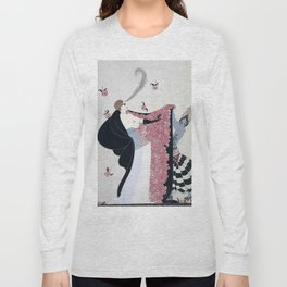 "Art Deco 1920's ""Rose Cloak"" Illustration Long Sleeve T-shirt"