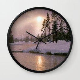 Winter River Light Wall Clock